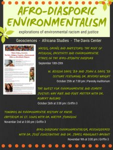 Poster for Afro-Diasporic Environmentalism Series Fall 2018